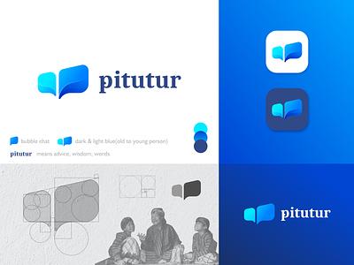 Pitutur Logo Design Blue app icon modern logo brand identity concept minimal logo identity branding design identity branding