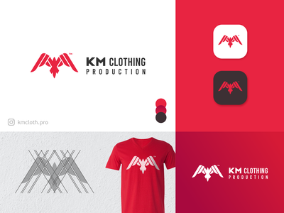 KM Clothing Production Logo Design eagle logo logo design brand identity grid logo minimal icon clothing brand design logo identity branding identity branding