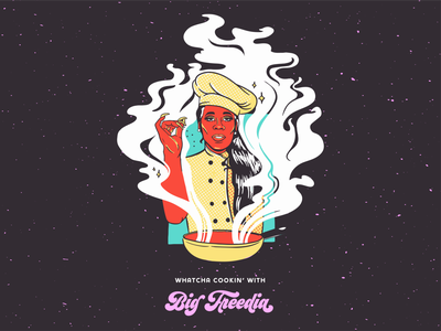 Big Freedia Cooking Show cook queen entertainment logo music merchandising merchandise design cooking class cooking show cooking merchandise merch design entertainment music art bounce music branding colorful louisiana new orleans digital painting illustration