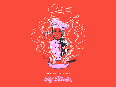 Big Freedia Whatcha' Cooking cookbook cooking show cooking logo design merchandise bounce music merch design music art colorful louisiana new orleans digital painting illustration