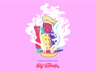 Big Freedia Whatcha' Cooking nola queen cooking logo cooking class cooking t-shirt illustration t-shirt design bounce music music art colorful merch design merchandise branding louisiana new orleans digital painting illustration