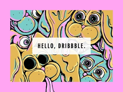 Hello, Dribbble digital painting free throw illustration