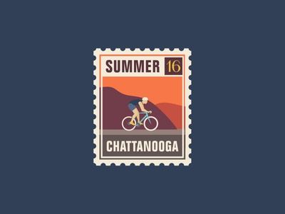 Lookout Cyclist orange blue typography mountains cycling summer logo stamp