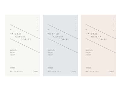 M. Lud Coffee roasters identity packaging labels coffee pastel simple typography