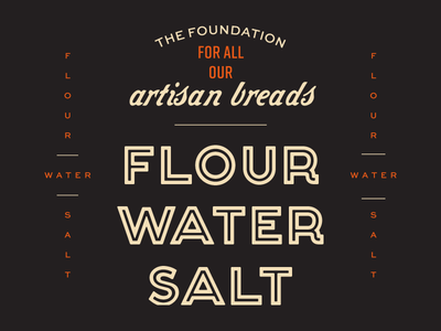Flour Water Salt branding script badge typography