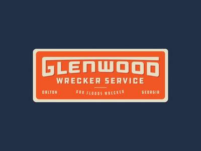Glenwood Wrecker towing wrecker retro typography branding badge