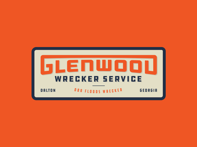 Glenwood Wrecker typography vintage retro towing wrecker badge branding