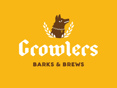 Growlers typography growler pub brewery beer dog blackletter logo branding