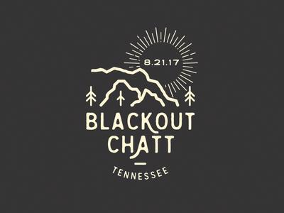 Blackout Chatt outdoors logo sun moon eclipse mountains branding