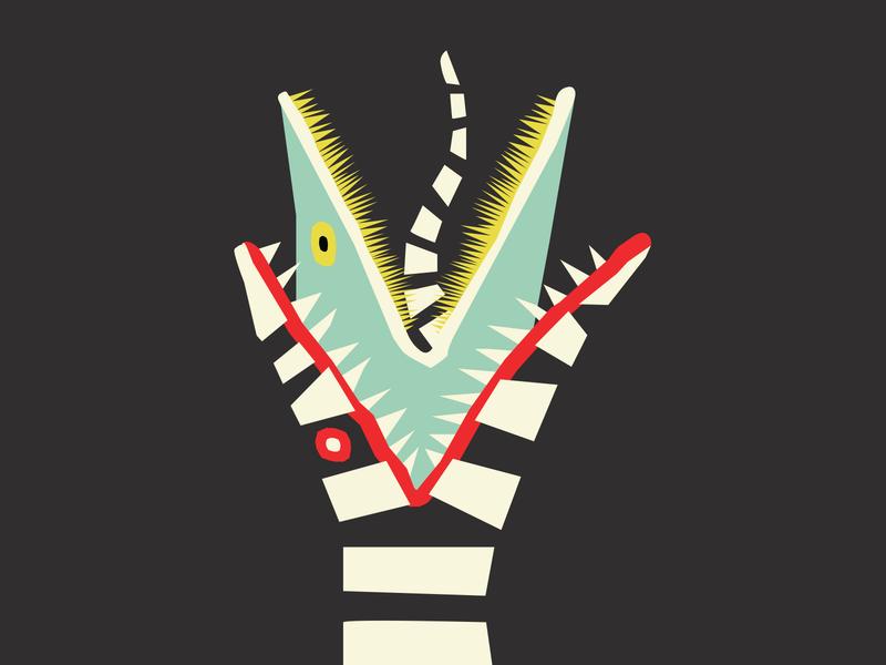 Sandworm hand drawn beetlejuice halloween illustration poster