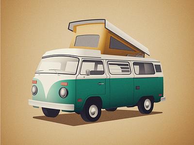 Vintage Camper Van graphic design canadian artist retro vintage art vehicle camping vector art vector