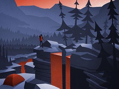 Social Distancing canadian artist outdoors nature retro vintage vector illustration digital art graphic design