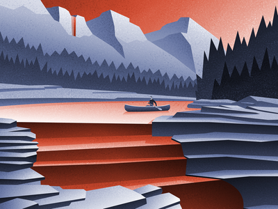 Quiet day on the river... canadian artist explore adventure outdoors vector illustration digital art