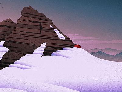 Alpine Hut nature graphic design vintage retro outdoors mountains landscape canadian artist digital art