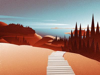 Exploring the coast nature graphic design vintage retro outdoors mountains landscape canadian artist digital art