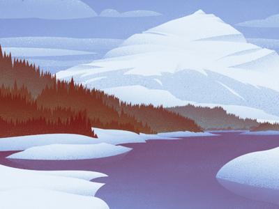 Winter on Three Isle Lake #2 nature graphic design vintage retro outdoors mountains landscape canadian artist digital art