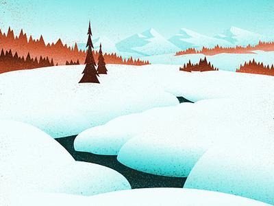 Winter Creek nature graphic design vintage retro outdoors mountains landscape canadian artist digital art