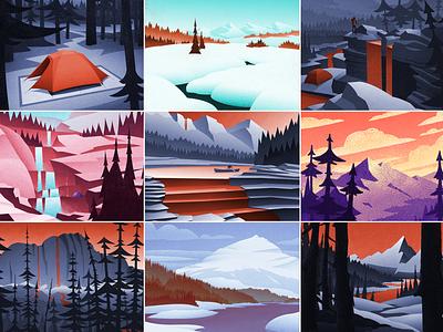 Top Nine 2020 nature graphic design vintage retro outdoors mountains landscape canadian artist digital art
