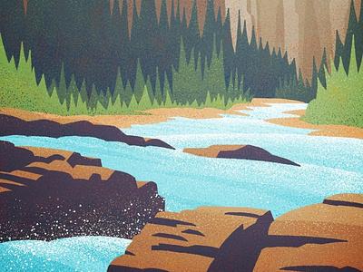 Ribbon Creek river mountains hiking vector graphic design yeg illustration vintage outdoors canadian artist retro