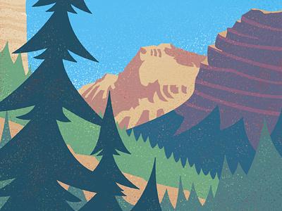 Vintage Ribbon Falls explore mountains landscape illustration vintage outdoors canadian artist retro