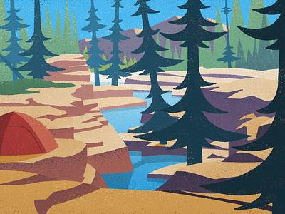 Vintage Ribbon Creek #3 hiking mountains nature landscape camping illustration vintage outdoors canadian artist retro