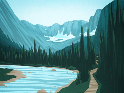 Another mile, mile-and-a-half canadian artist outdoors scenery mountains nature stylized digital art landscape illustration