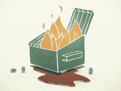 Dumpster Fire digital illustration digital art canadian artist graphic design spot illustration procreate editorial illustration