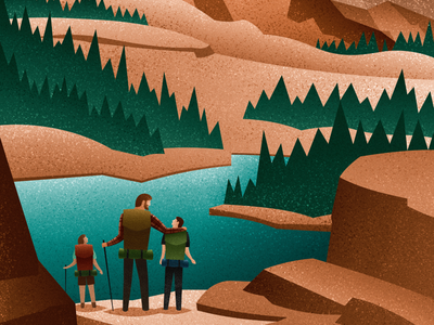 Exploring the Great Outdoors vector art stylized vintage large format canadian artist exploration youth ministry church mountains nature outdoors