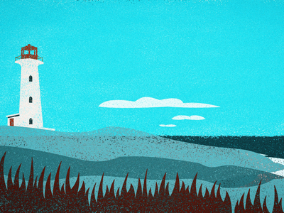 Lighthouse retro vintage abstract canada lighthouse ocean landscape illustration digital art