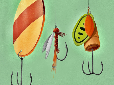 Fishing Lures canadian artist retro vintage procreate digital art nature outdoors fishing