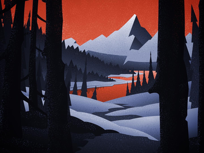 A break in the trees landscape graphic design mid-century retro art canadian artist vintage art digital illustration