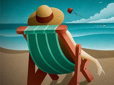 Day at the Beach canadian artist cover art ocean beach retro vintage vector art digital art graphic design