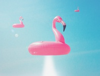 Attack of the Flamingo Tubes 👽👙 digitalart digital space ufo alien blue pink flamingo