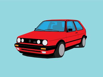 VW Mk2 gti illustrator flat design vector vw mk2 volkswagen