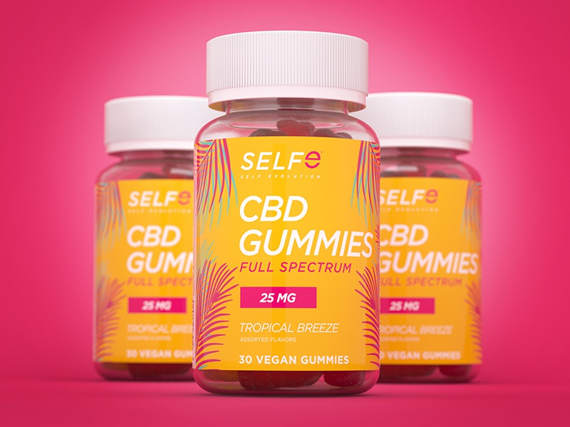 SELFe CBD Gummies Packaging tropical gummies cbd oil cbd packagedesign packaging