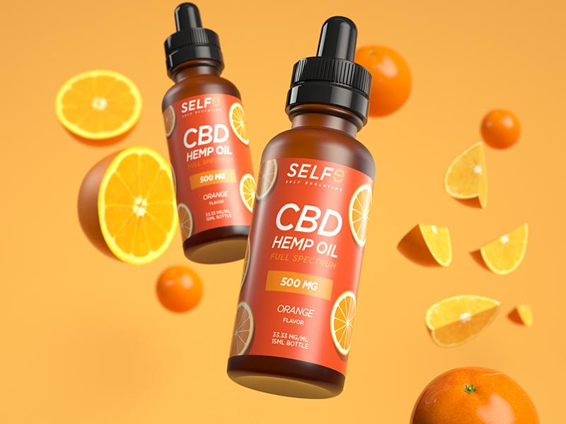 SELFe CBD Orange Packaging splash fruit fun orange cbd oil cbd packagedesign packaging