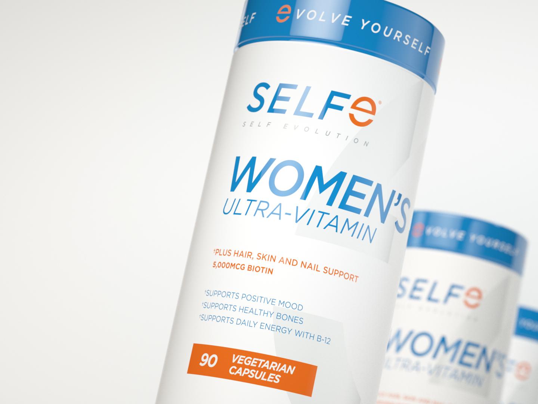 SELFe Women's Ultra-Vitamin Packaging selfe 3d rendering 3d render packaging mockup multi vitamin vitamins packagedesign packaging