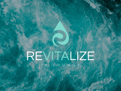 Revitalize IV Lounge water hydration drip ivdrip revitalize logo design branding logo