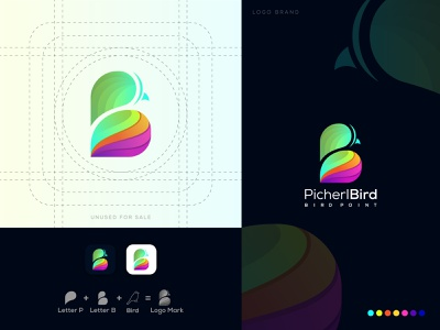 P Plus B Letter Bird Logo Design For PicherlBird logo symbol abstract logo app icon bird logo b letter logo p letter logo logo mark letter logo logos gradient logo colorful logo logo designer brand identity design brand logo branding unique logo logo design creative logo logo