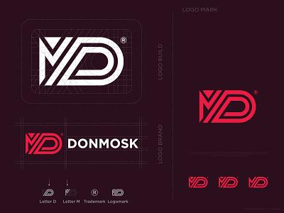 D Plus M Letter Logo Design Concept For Donmosk letter m lettermark letter d donmosk company logo letter logo brand identity design unique logo logo designer logo brand logo branding creative logo logo design