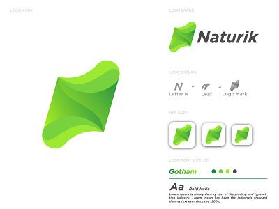 N Letter Logo Design For Naturik nature logo app icon logo mark n letter logo letter logos company logo letter logo gradient logo unique logo logo designer brand identity design branding brand logo creative logo logo design logo