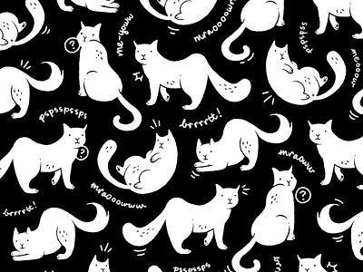 Me-yoww black and white digital drawing drawing doodle cat pattern pattern digital illustration ipad pro procreate kitties kittens kitten cats cat
