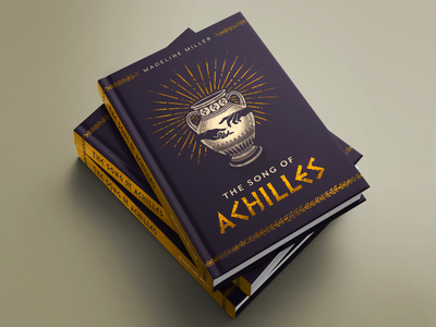 The Song of Achilles illustrated book cover book cover design book design book cover tsoa ancient greece the song of achilles achilles greek greek urn procreate ipad pro illustration typography gold foil madeline miller the iliad laurels