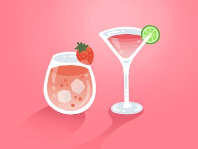 A Toast cosmo fruit alcohol valentines day valentines cocktails cocktail digital illustration procreate ipad pro illustration