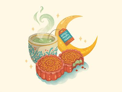 Amy's Mooncakes apparel tote bag digital illustration ipad pro procreate food illustration bakery lunar new year mooncakes mooncake illustration