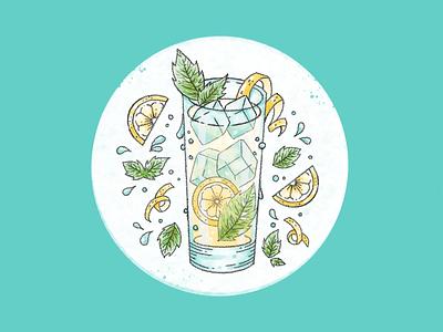 South Side Sippin' lemon drink southside cocktail digital illustration procreate ipad pro illustration cocktails happy hour food illustration cocktail south side cocktail south side
