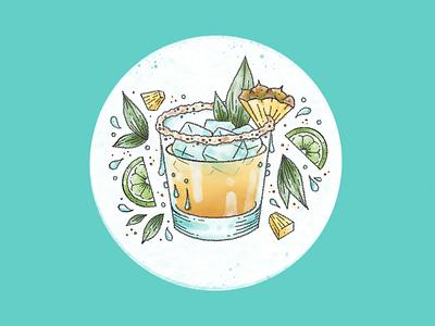 Margarita Mondays libations salt digital illustration procreate ipad pro illustration drinks cocktails cocktail happy hour pineapple margarita pineapple lime food illustration margarita