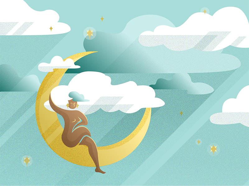 Moongirl evening night star vector moon illustration