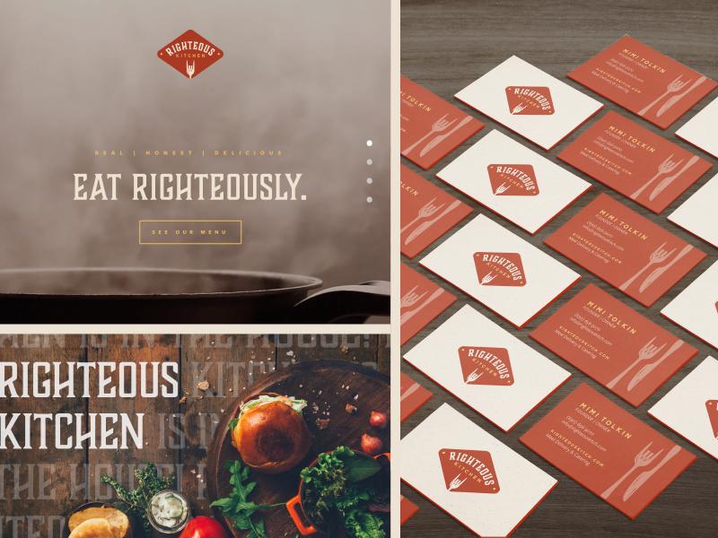 Righteous Kitchen Brand Assets print design restaurant branding restaurant web design website business cards digital ad food branding branding