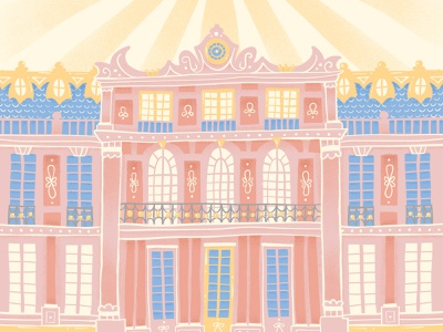Versailles whimsy whimsical versailles vector travel texture rococo procreate ipad pro illustration french france doodle buildings architecture